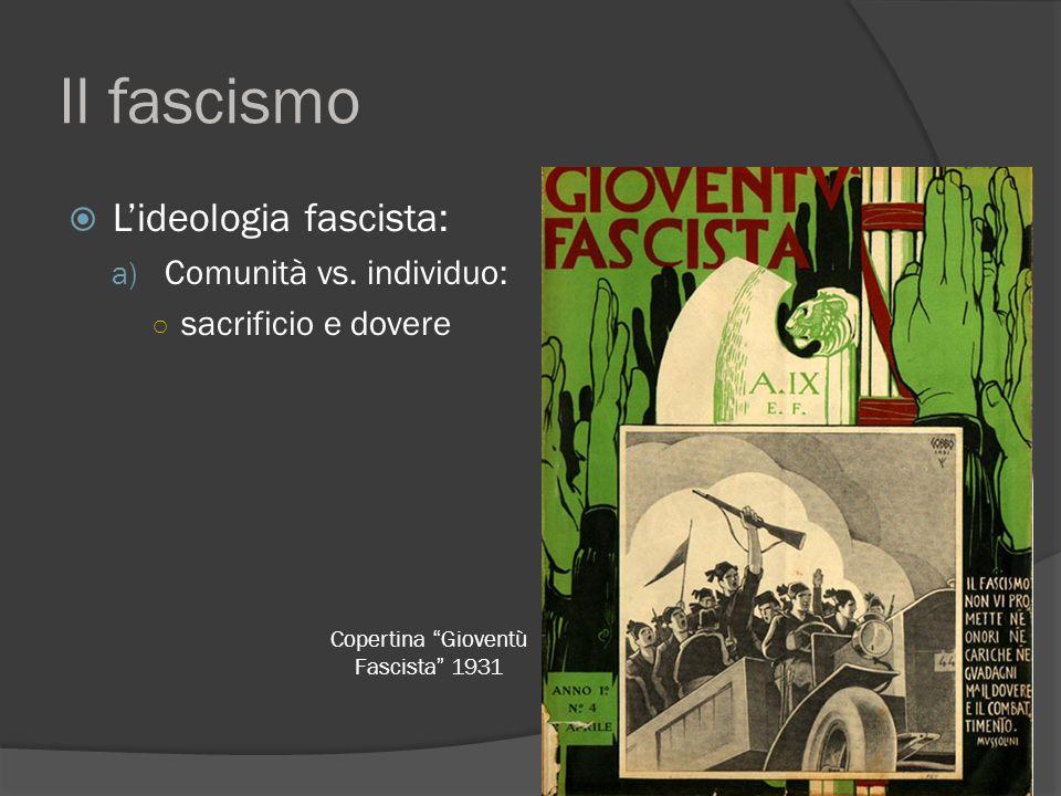 """Il fascismo  L'ideologia fascista: a) Comunità vs. individuo: ○ sacrificio e dovere Copertina """"Gioventù Fascista"""" 1931"""