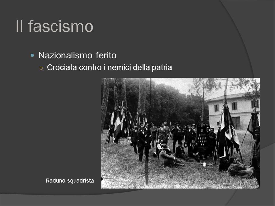 Il fascismo Nazionalismo ferito ○ Crociata contro i nemici della patria Raduno squadrista