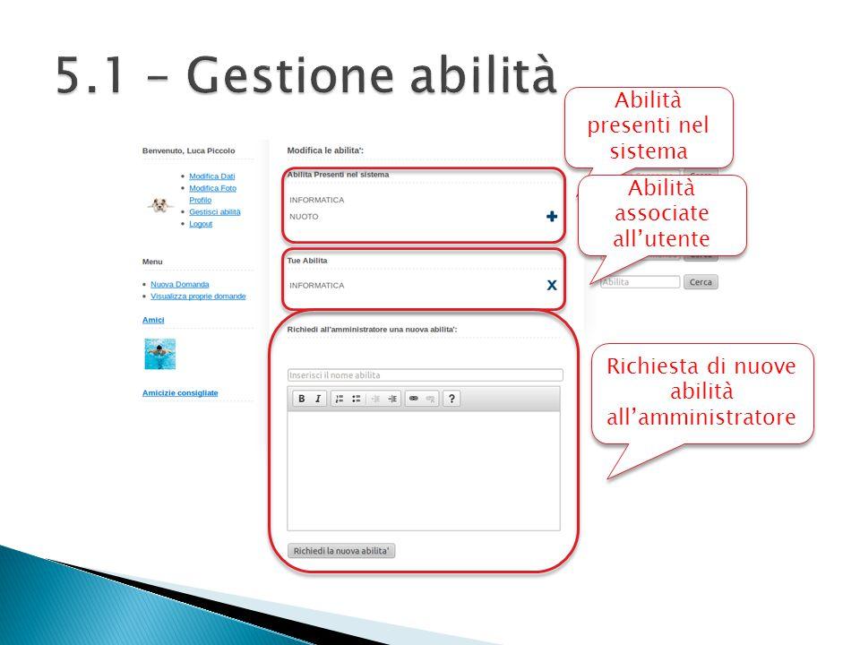 Abilità presenti nel sistema Abilità associate all'utente Richiesta di nuove abilità all'amministratore