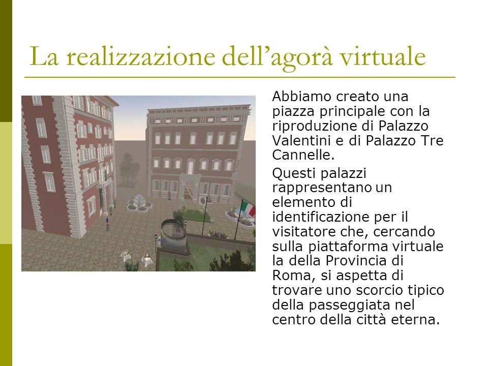 La realizzazione dell'agorà virtuale Abbiamo creato una piazza principale con la riproduzione di Palazzo Valentini e di Palazzo Tre Cannelle.