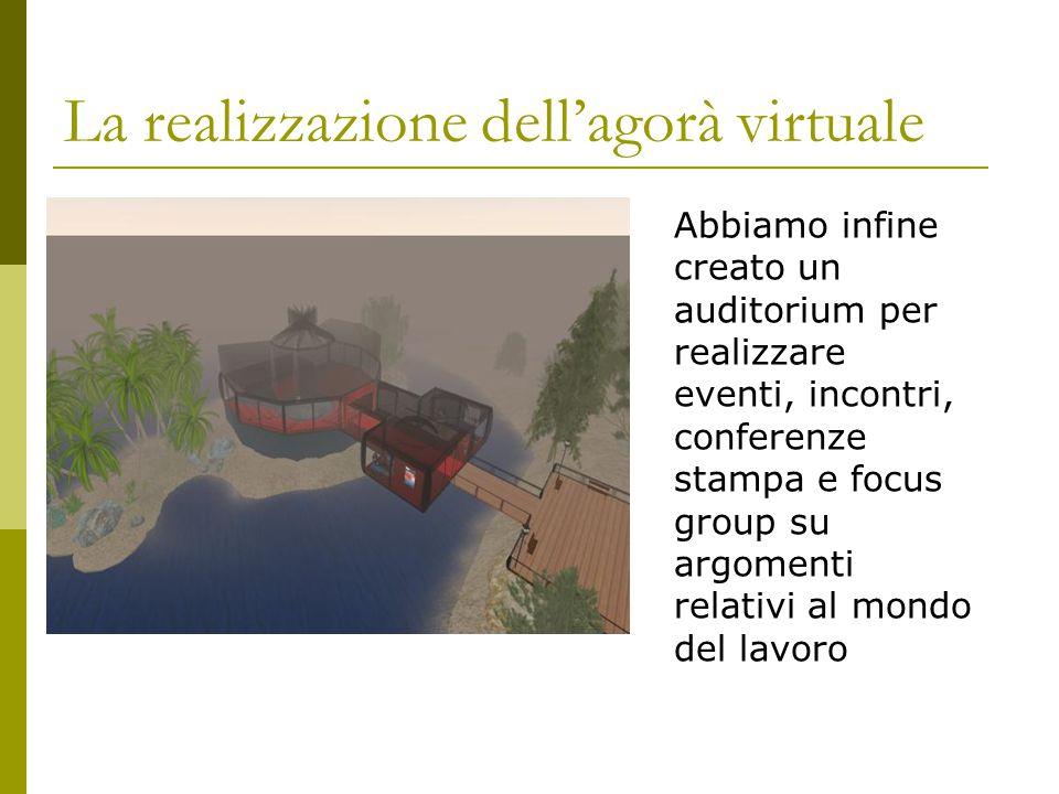 La realizzazione dell'agorà virtuale Abbiamo infine creato un auditorium per realizzare eventi, incontri, conferenze stampa e focus group su argomenti relativi al mondo del lavoro