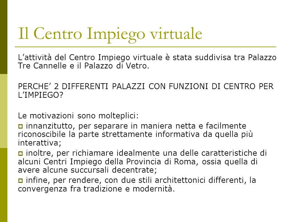 Il Centro Impiego virtuale L'attività del Centro Impiego virtuale è stata suddivisa tra Palazzo Tre Cannelle e il Palazzo di Vetro.
