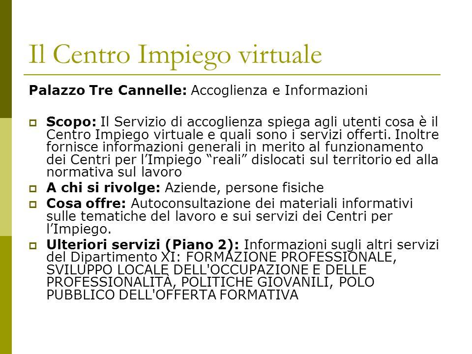 Il Centro Impiego virtuale Palazzo Tre Cannelle: Accoglienza e Informazioni  Scopo: Il Servizio di accoglienza spiega agli utenti cosa è il Centro Impiego virtuale e quali sono i servizi offerti.