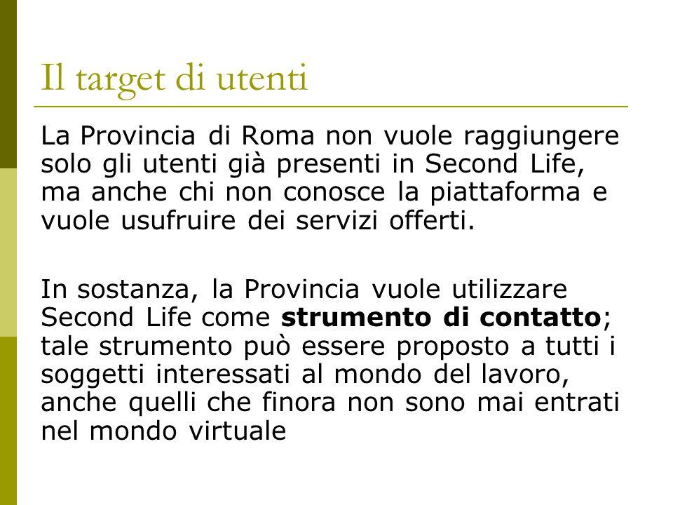 Il target di utenti La Provincia di Roma non vuole raggiungere solo gli utenti già presenti in Second Life, ma anche chi non conosce la piattaforma e vuole usufruire dei servizi offerti.