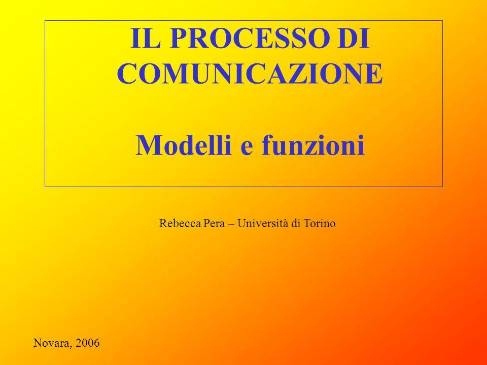 IL PROCESSO DI COMUNICAZIONE Modelli e funzioni Rebecca Pera – Università di Torino Novara, 2006