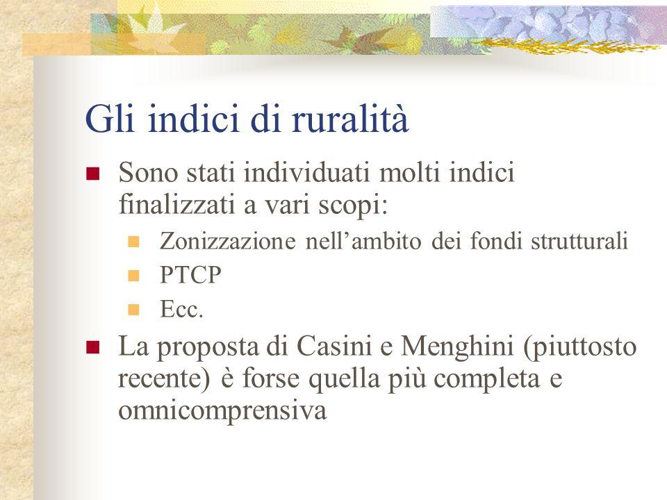 I tre aspetti della ruralità Casini e Menghini osservano che le differenti definizioni di ruralità concordano per tre aspetti: Rilevanza della attività agricola, in termini di capitale fondiario (superfici coltivate) e lavoro (addetti) Peso contenuto delle attività industriali e del terziario Densità della popolazione
