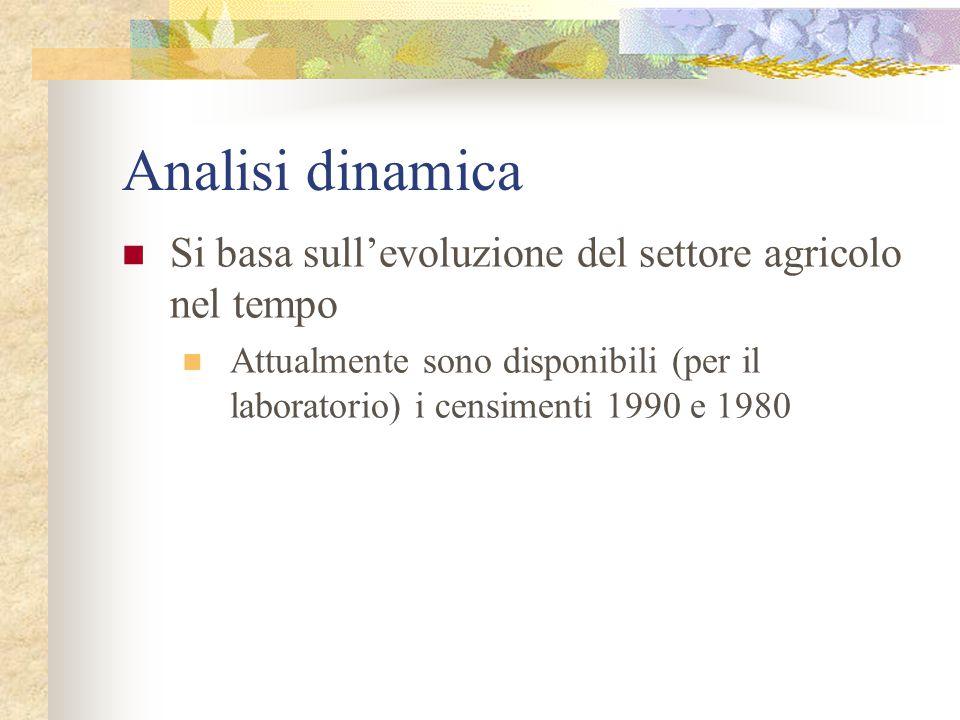 Indici dinamici G90 = giornate di lavoro agricolo1990 G80 = giornate di lavoro agricolo 1980