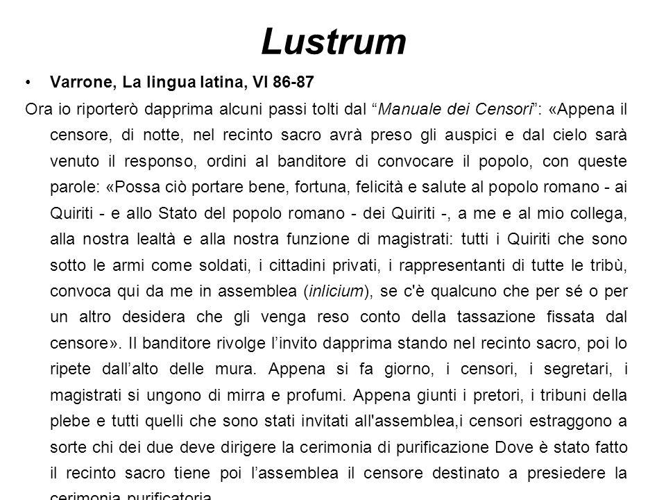 """Lustrum Varrone, La lingua latina, VI 86-87 Ora io riporterò dapprima alcuni passi tolti dal """"Manuale dei Censori"""": «Appena il censore, di notte, nel"""