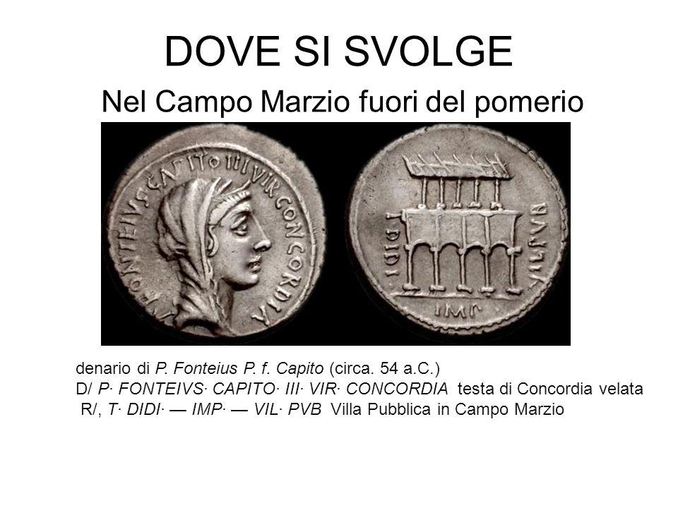 DOVE SI SVOLGE Nel Campo Marzio fuori del pomerio denario di P. Fonteius P. f. Capito (circa. 54 a.C.) D/ P· FONTEIVS· CAPITO· III· VIR· CONCORDIA tes