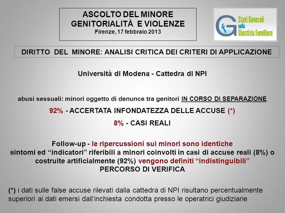ASCOLTO DEL MINORE GENITORIALITÀ E VIOLENZE Firenze, 17 febbraio 2013 DIRITTO DEL MINORE: ANALISI CRITICA DEI CRITERI DI APPLICAZIONE Università di Modena - Cattedra di NPI abusi sessuali: minori oggetto di denunce tra genitori IN CORSO DI SEPARAZIONE 92% - ACCERTATA INFONDATEZZA DELLE ACCUSE (*) 8% - CASI REALI Follow-up - le ripercussioni sui minori sono identiche sintomi ed indicatori riferibili a minori coinvolti in casi di accuse reali (8%) o costruite artificialmente (92%) vengono definiti indistinguibili PERCORSO DI VERIFICA (*) i dati sulle false accuse rilevati dalla cattedra di NPI risultano percentualmente superiori ai dati emersi dall'inchiesta condotta presso le operatrici giudiziarie