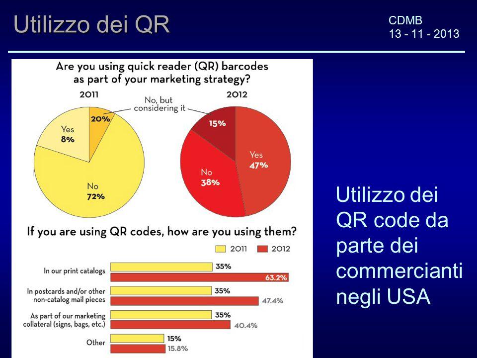 CDMB 13 - 11 - 2013 Utilizzo dei QR Utilizzo dei QR code da parte dei commercianti negli USA