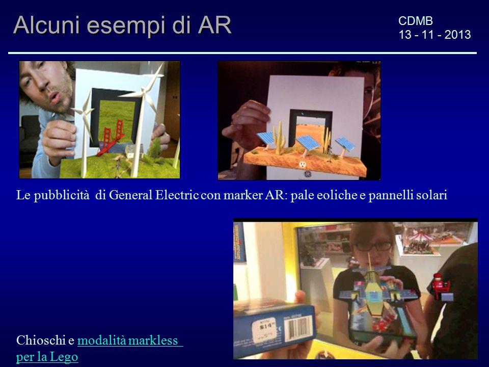 CDMB 13 - 11 - 2013 Alcuni esempi di AR Le pubblicità di General Electric con marker AR: pale eoliche e pannelli solari Chioschi e modalità marklessmodalità markless per la Lego