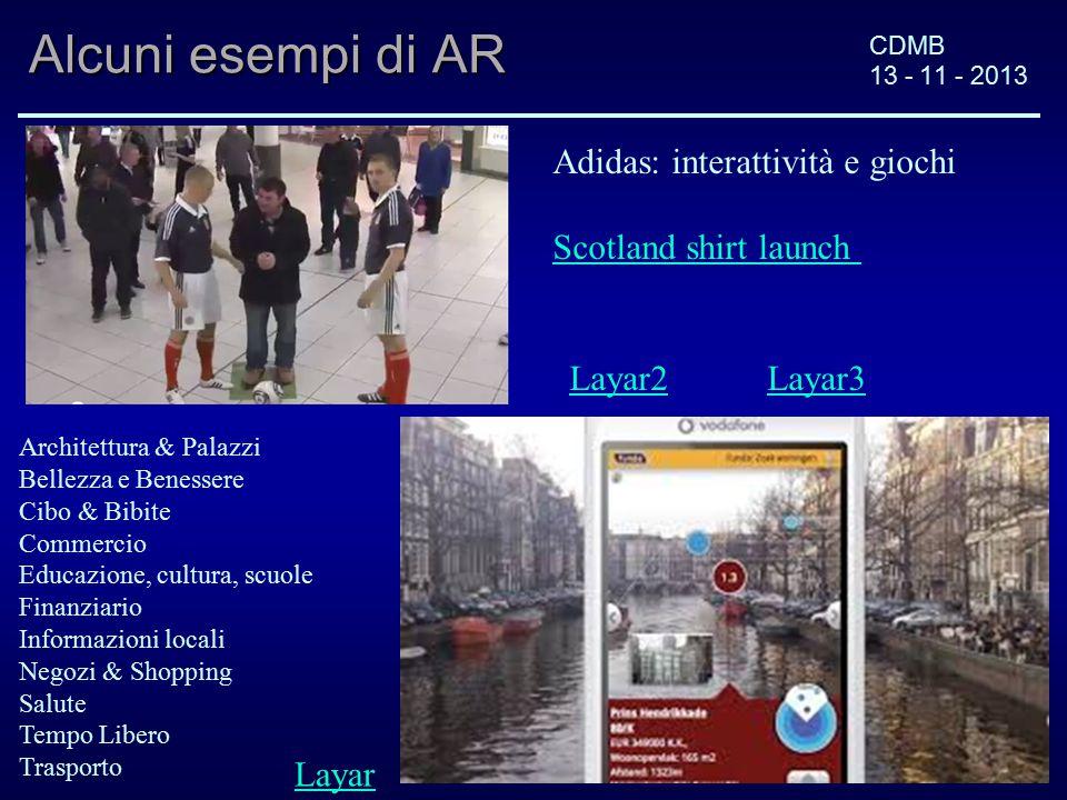 CDMB 13 - 11 - 2013 Alcuni esempi di AR Adidas: interattività e giochi Scotland shirt launch Layar Architettura & Palazzi Bellezza e Benessere Cibo &