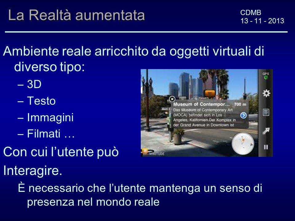 CDMB 13 - 11 - 2013 La Realtà aumentata Ambiente reale arricchito da oggetti virtuali di diverso tipo: –3D –Testo –Immagini –Filmati … Con cui l'utente può Interagire.