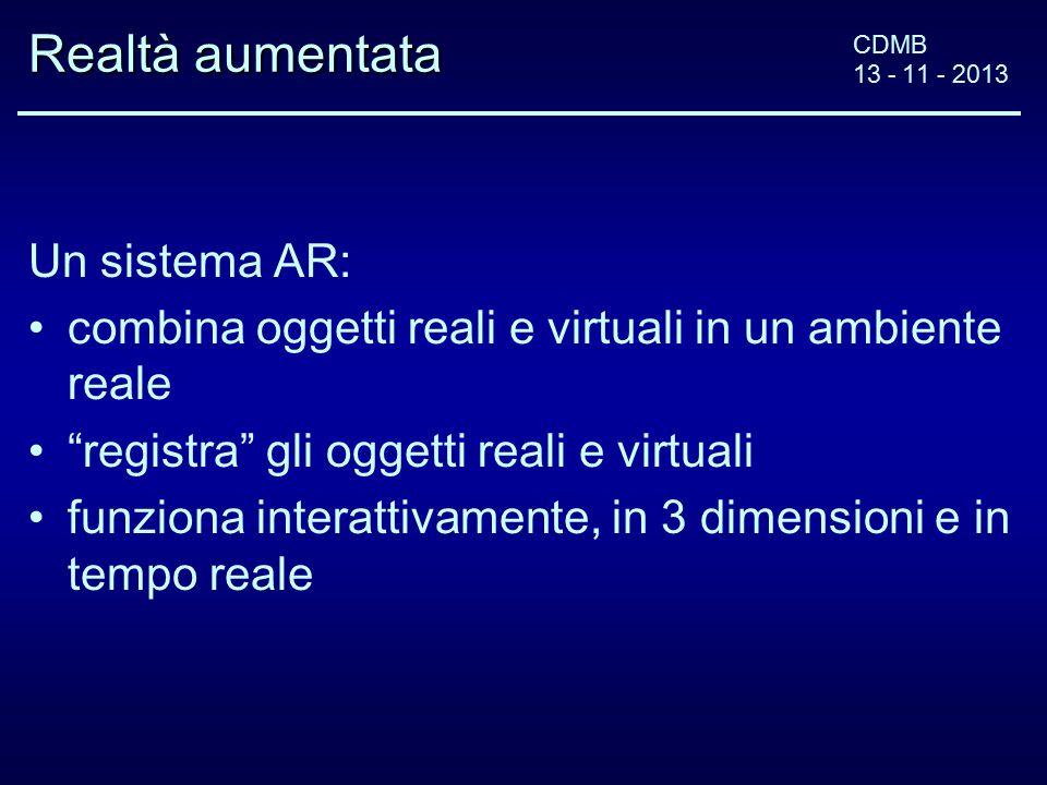 CDMB 13 - 11 - 2013 Realtà aumentata Un sistema AR: combina oggetti reali e virtuali in un ambiente reale registra gli oggetti reali e virtuali funziona interattivamente, in 3 dimensioni e in tempo reale