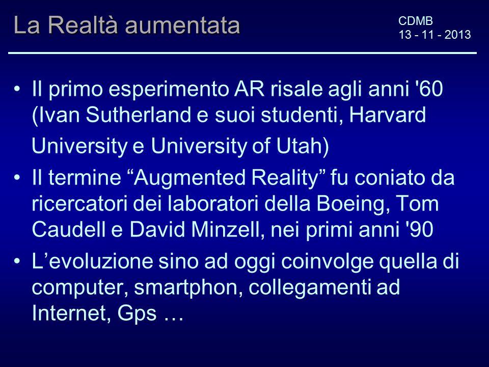 CDMB 13 - 11 - 2013 La Realtà aumentata Il primo esperimento AR risale agli anni '60 (Ivan Sutherland e suoi studenti, Harvard University e University