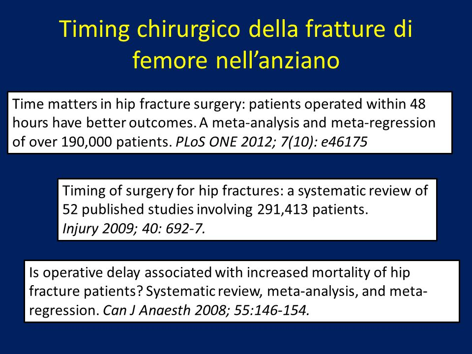 Time matters in hip fracture surgery: patients operated within 48 hours have better outcomes. A meta-analysis and meta-regression of over 190,000 pati