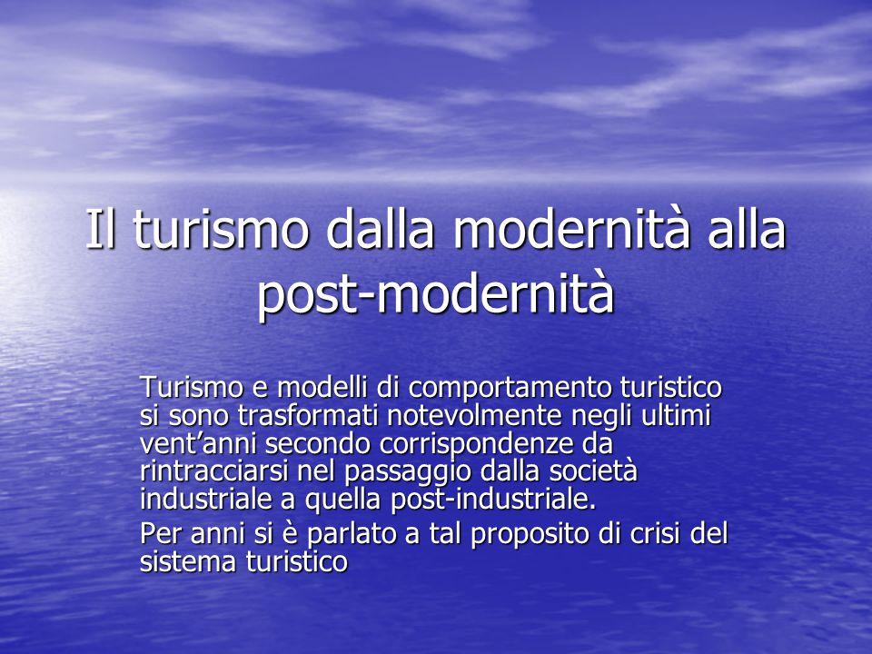 Il turismo dalla modernità alla post-modernità Turismo e modelli di comportamento turistico si sono trasformati notevolmente negli ultimi vent'anni se