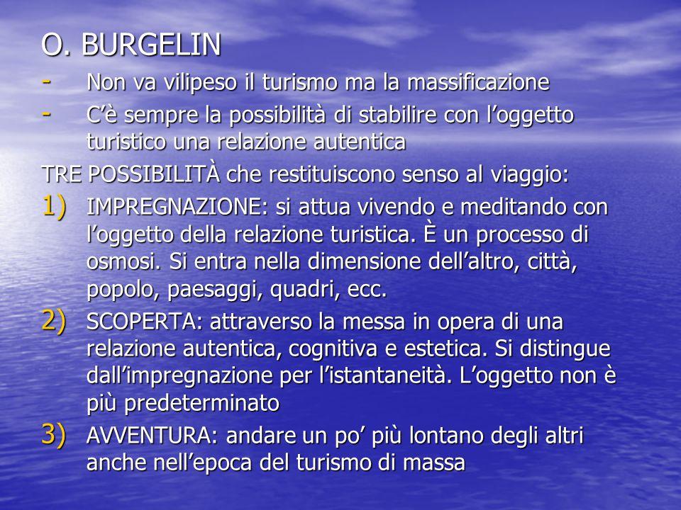 O. BURGELIN - Non va vilipeso il turismo ma la massificazione - C'è sempre la possibilità di stabilire con l'oggetto turistico una relazione autentica