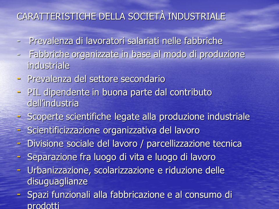 CARATTERISTICHE DELLA SOCIETÀ INDUSTRIALE - Prevalenza di lavoratori salariati nelle fabbriche - Fabbriche organizzate in base al modo di produzione i