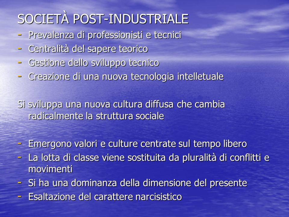 SOCIETÀ POST-INDUSTRIALE - Prevalenza di professionisti e tecnici - Centralità del sapere teorico - Gestione dello sviluppo tecnico - Creazione di una