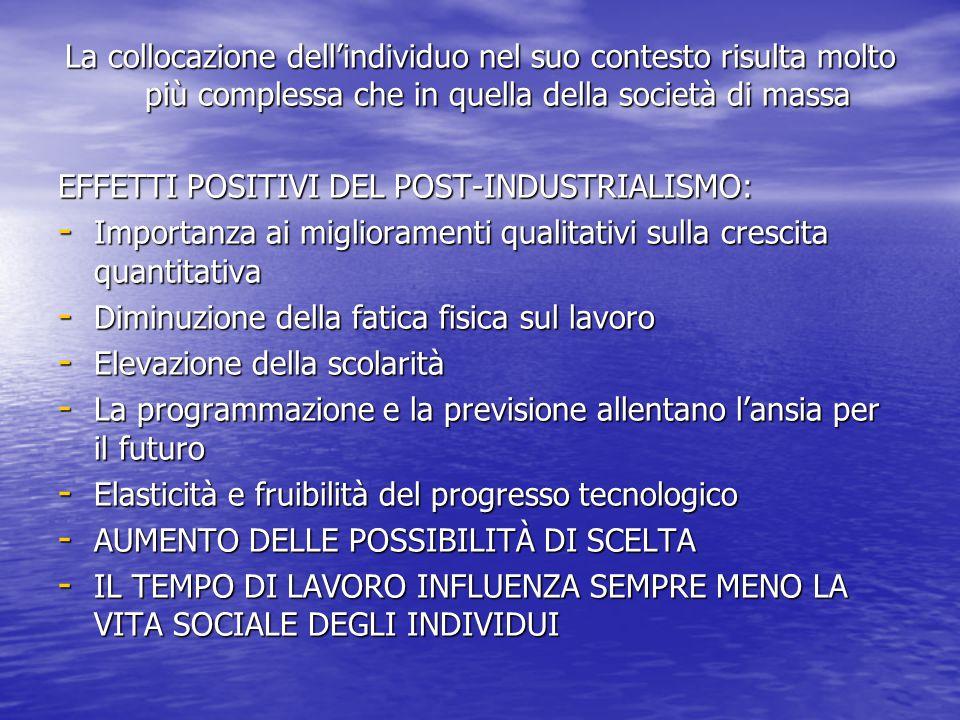 LA SOCIETÀ POST-INDUSTRIALE GENERA: Conoscenza Gestione della tecnologia Gestione del cambiamento IL PROCESSO PREVALENTE NON STA TANTO NELLA PRODUZIONE DI BENI QUANTO NELLA PROGRAMMAZIONE DELL'INNOVAZIONE - Si disarticola la produzione in soggetti e unità produttive diverse - Non vi è più un'unica gerarchia sociale - La dimensione nazionale della produzione viene superata - La gerarchia fra nazioni non è più chiara