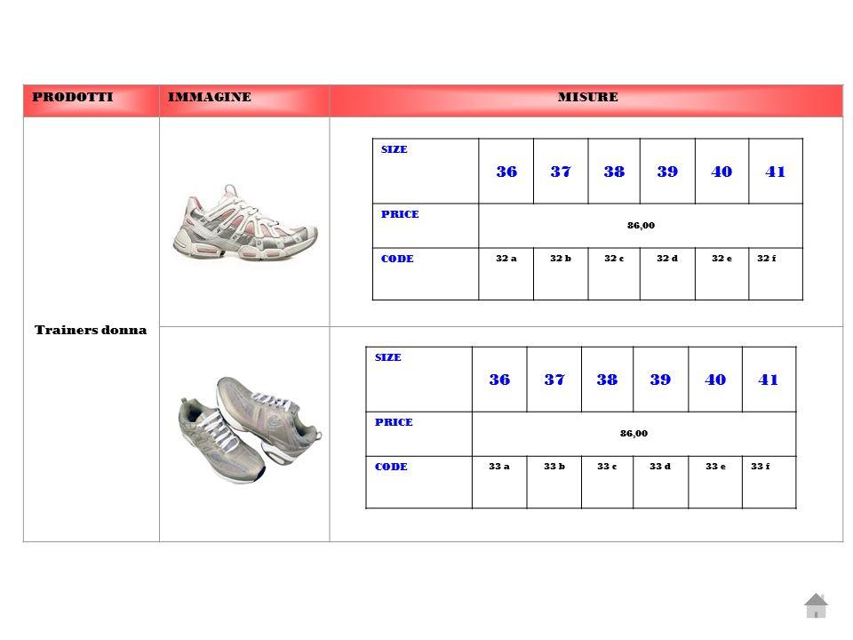 PRODOTTIIMMAGINE MISURE Trainers donna SIZE 363738394041 PRICE 86,00 CODE 32 a32 b32 c32 d32 e32 f SIZE 363738394041 PRICE 86,00 CODE 33 a33 b33 c33 d