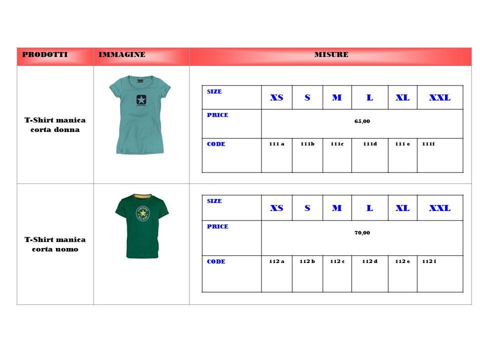 PRODOTTIIMMAGINE MISURE T-Shirt manica corta donna T-Shirt manica corta uomo SIZE XSSMLXLXXL PRICE 65,00 CODE 111 a111b111c111d111 e111f SIZE XSSMLXLX