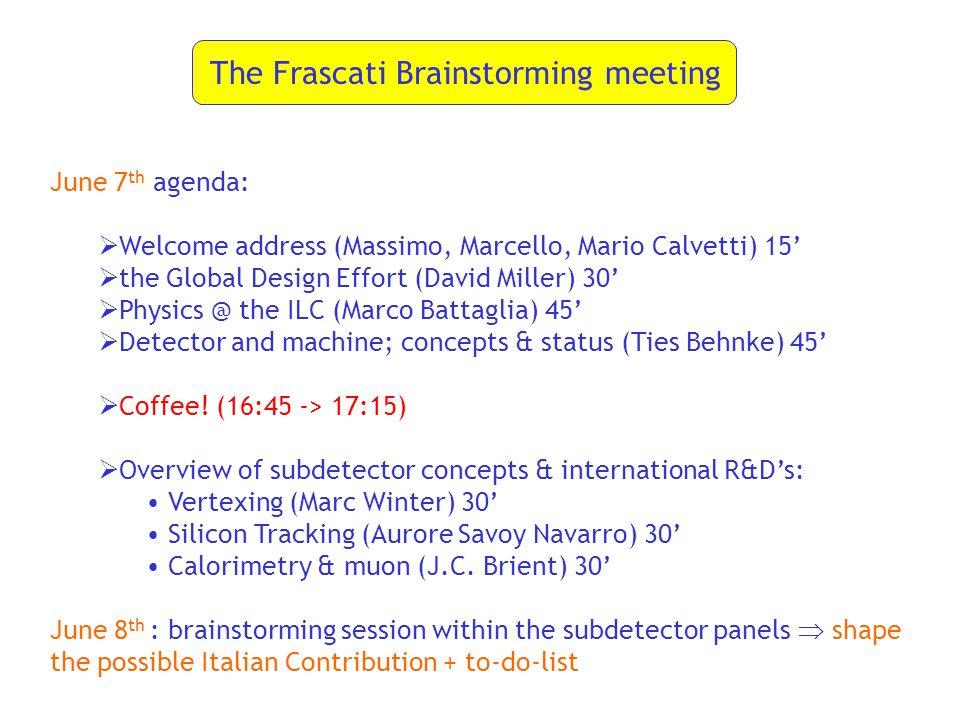 The Frascati Brainstorming meeting June 7 th agenda:  Welcome address (Massimo, Marcello, Mario Calvetti) 15'  the Global Design Effort (David Miller) 30'  Physics @ the ILC (Marco Battaglia) 45'  Detector and machine; concepts & status (Ties Behnke) 45'  Coffee.