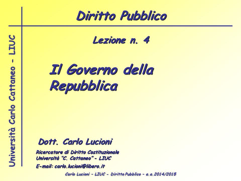 Carlo Lucioni – LIUC - Diritto Pubblico – a.a.2014/2015 Università Carlo Cattaneo - LIUC Il Governo della Repubblica Dott. Carlo Lucioni Ricercatore d