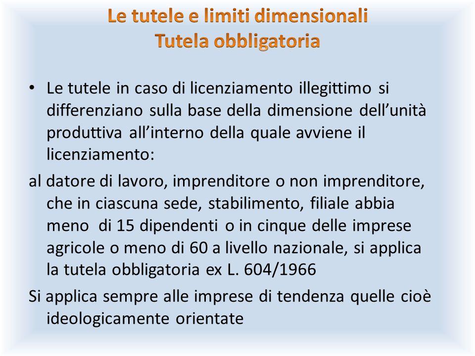 Le tutele in caso di licenziamento illegittimo si differenziano sulla base della dimensione dell'unità produttiva all'interno della quale avviene il l