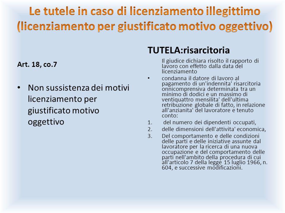 Art. 18, co.7 Non sussistenza dei motivi licenziamento per giustificato motivo oggettivo TUTELA:risarcitoria Il giudice dichiara risolto il rapporto d