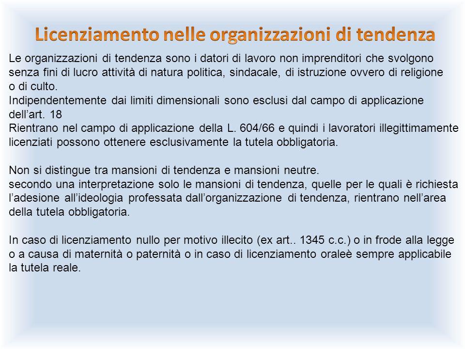 Le organizzazioni di tendenza sono i datori di lavoro non imprenditori che svolgono senza fini di lucro attività di natura politica, sindacale, di ist