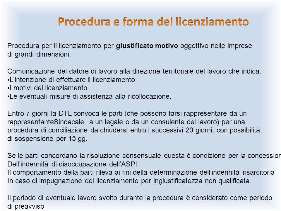Procedura per il licenziamento per giustificato motivo oggettivo nelle imprese di grandi dimensioni. Comunicazione del datore di lavoro alla direzione