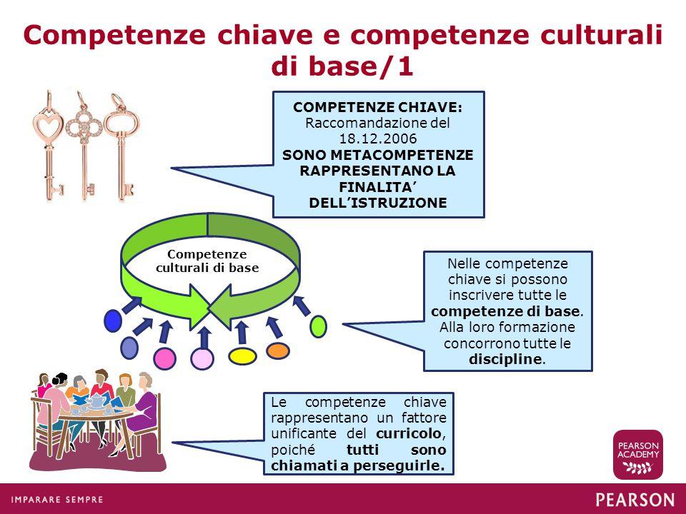 Competenze chiave e competenze culturali di base/1 COMPETENZE CHIAVE: Raccomandazione del 18.12.2006 SONO METACOMPETENZE RAPPRESENTANO LA FINALITA' DE