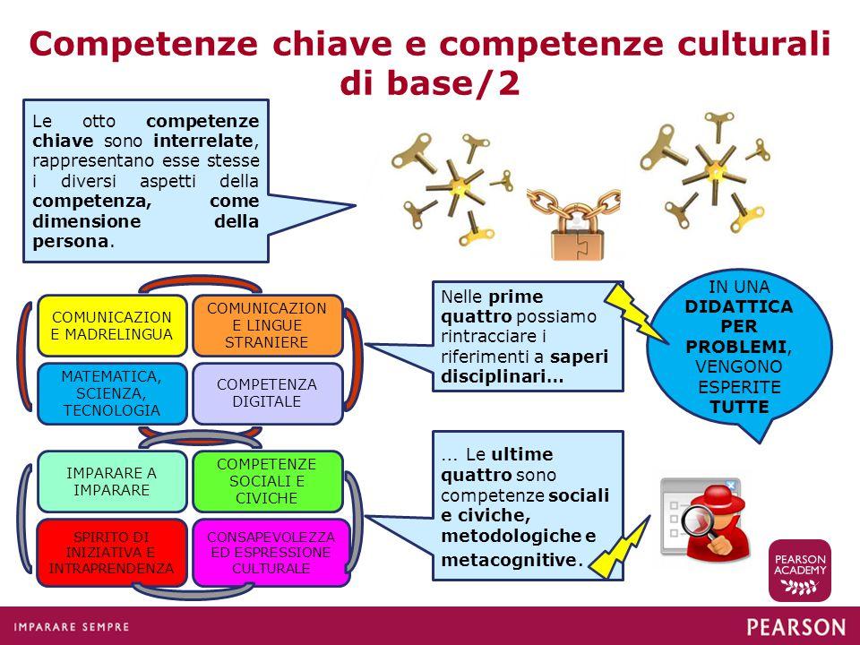 Competenze chiave e competenze culturali di base/2 Le otto competenze chiave sono interrelate, rappresentano esse stesse i diversi aspetti della compe