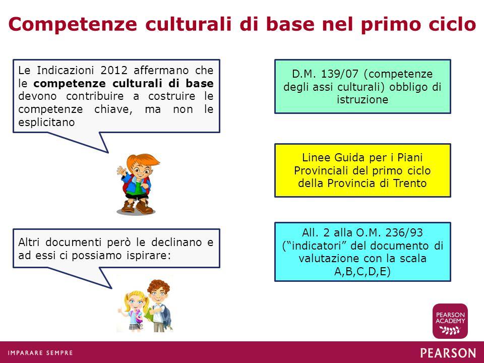 Competenze culturali di base nel primo ciclo Le Indicazioni 2012 affermano che le competenze culturali di base devono contribuire a costruire le compe