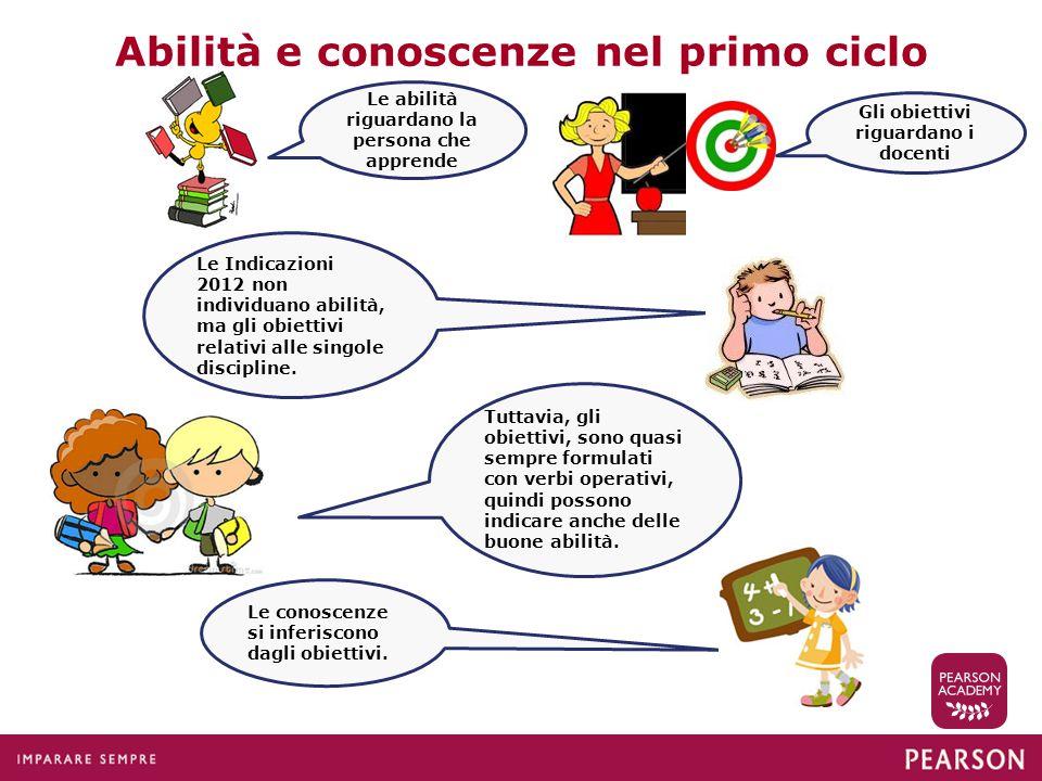 Abilità e conoscenze nel primo ciclo Le Indicazioni 2012 non individuano abilità, ma gli obiettivi relativi alle singole discipline. Tuttavia, gli obi
