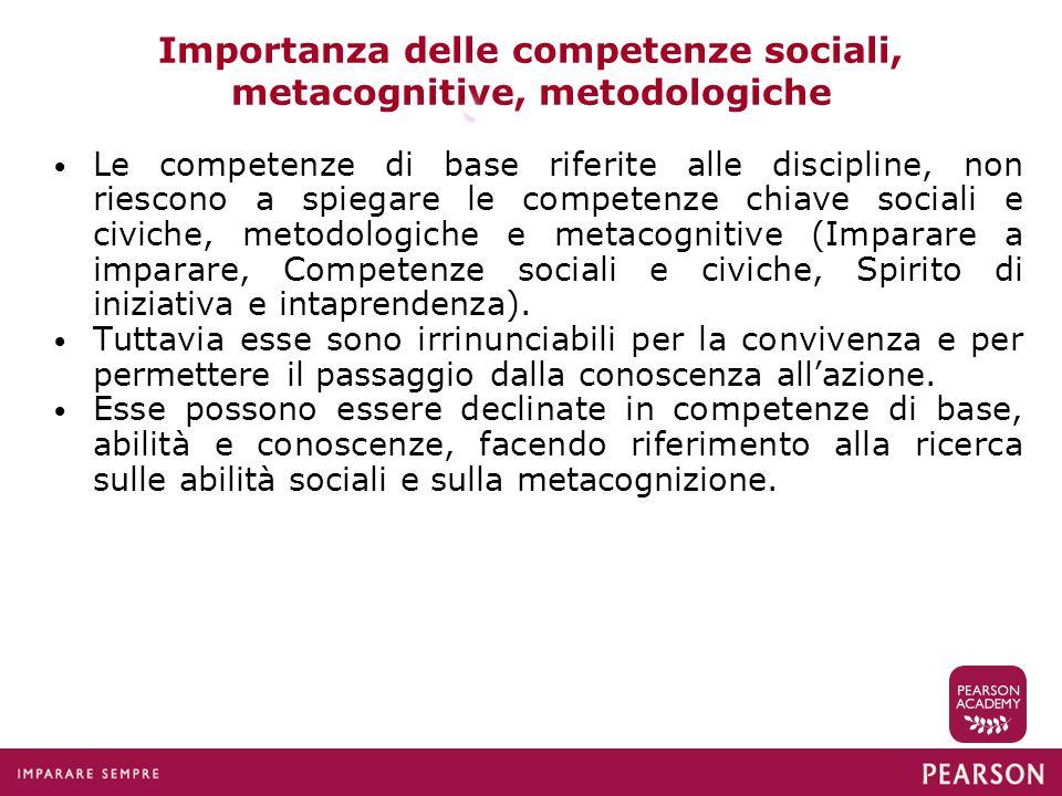 Importanza delle competenze sociali, metacognitive, metodologiche Le competenze di base riferite alle discipline, non riescono a spiegare le competenz
