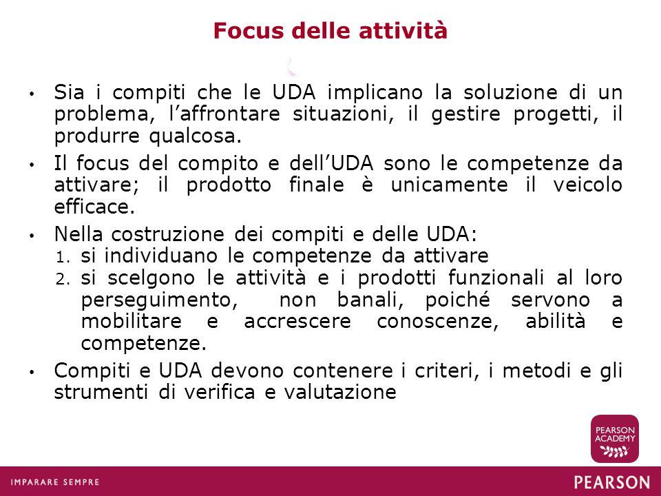 Focus delle attività Sia i compiti che le UDA implicano la soluzione di un problema, l'affrontare situazioni, il gestire progetti, il produrre qualcos