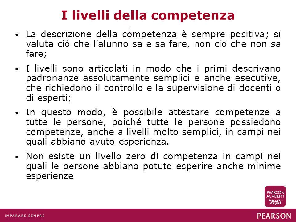 I livelli della competenza La descrizione della competenza è sempre positiva; si valuta ciò che l'alunno sa e sa fare, non ciò che non sa fare; I live