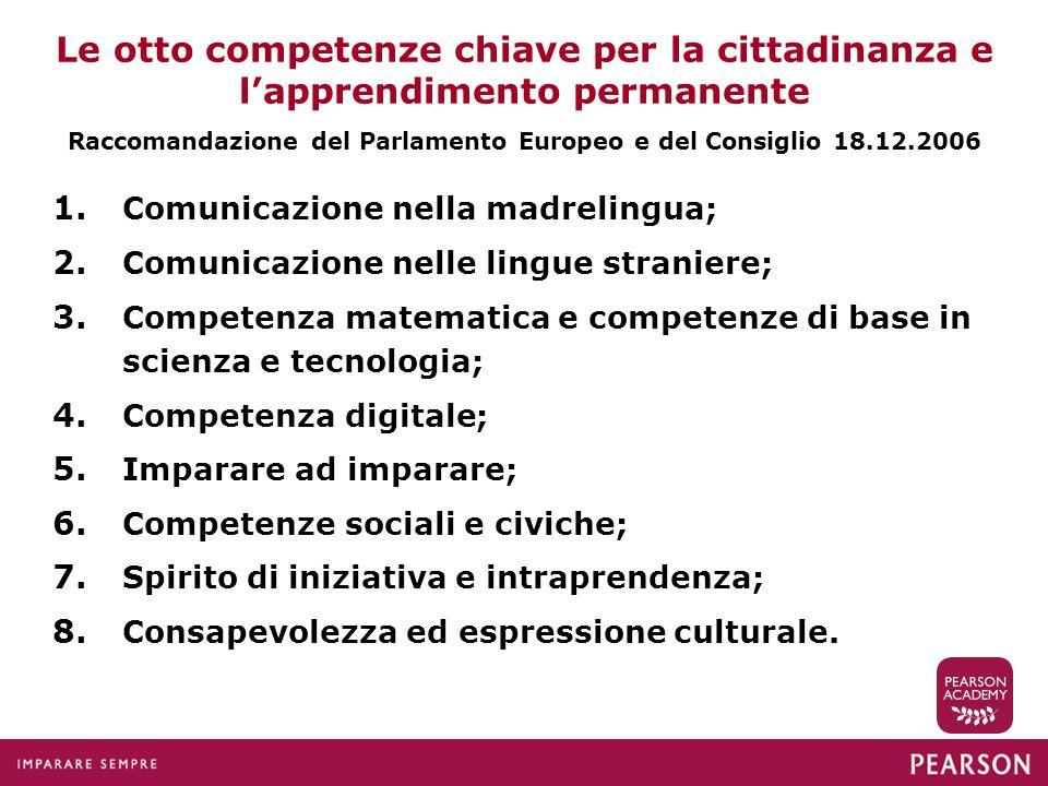 Le otto competenze chiave per la cittadinanza e l'apprendimento permanente Raccomandazione del Parlamento Europeo e del Consiglio 18.12.2006 1. Comuni