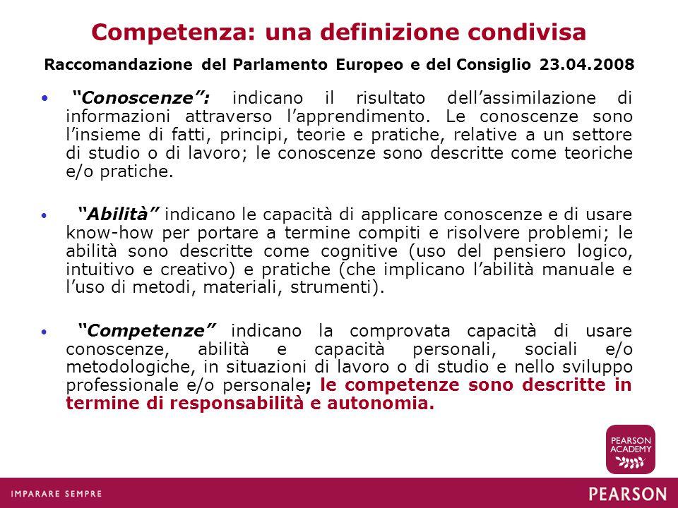 """Competenza: una definizione condivisa Raccomandazione del Parlamento Europeo e del Consiglio 23.04.2008 """"Conoscenze"""": indicano il risultato dell'assim"""