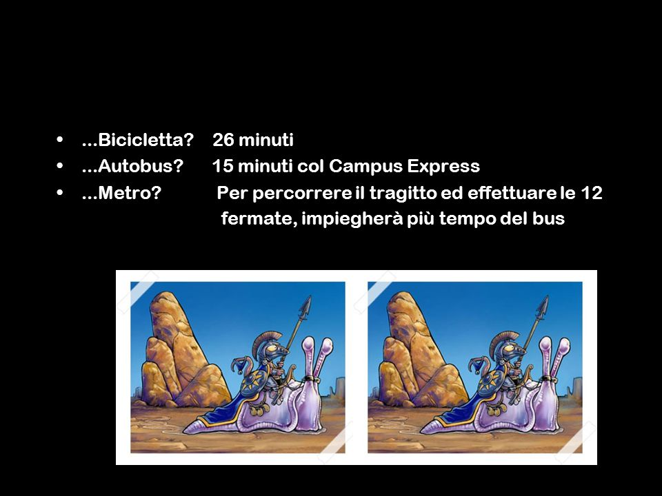 ...Bicicletta. 26 minuti...Autobus. 15 minuti col Campus Express...Metro.