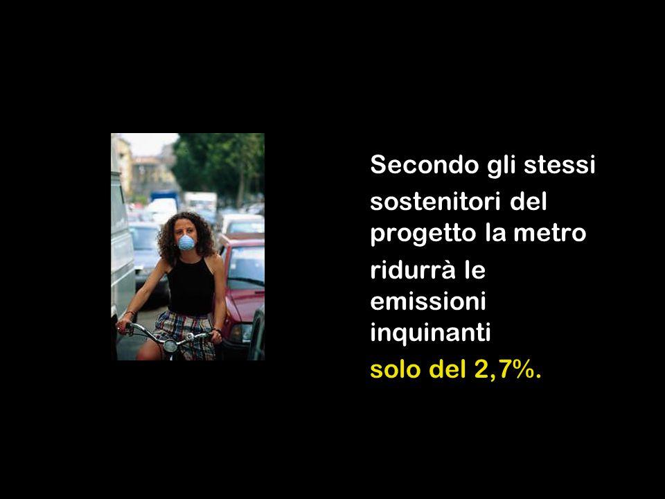 Secondo gli stessi sostenitori del progetto la metro ridurrà le emissioni inquinanti solo del 2,7%.