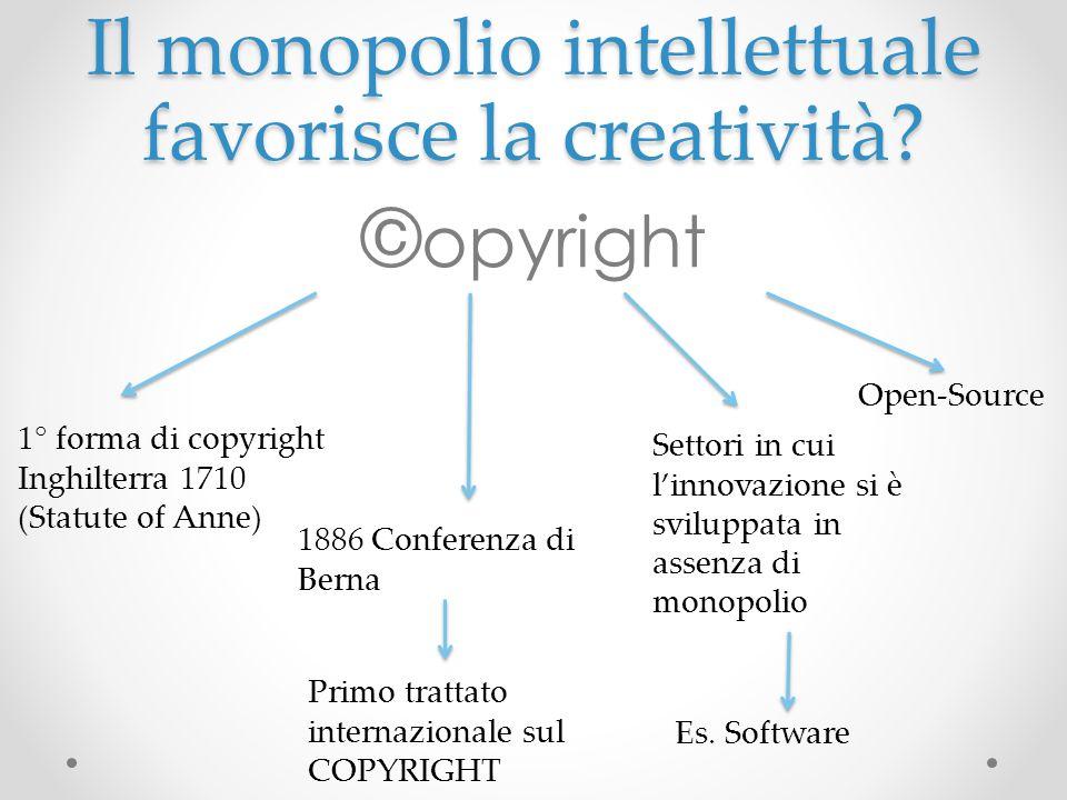 Il monopolio intellettuale favorisce la creatività? © opyright 1° forma di copyright Inghilterra 1710 (Statute of Anne) 1886 Conferenza di Berna Primo