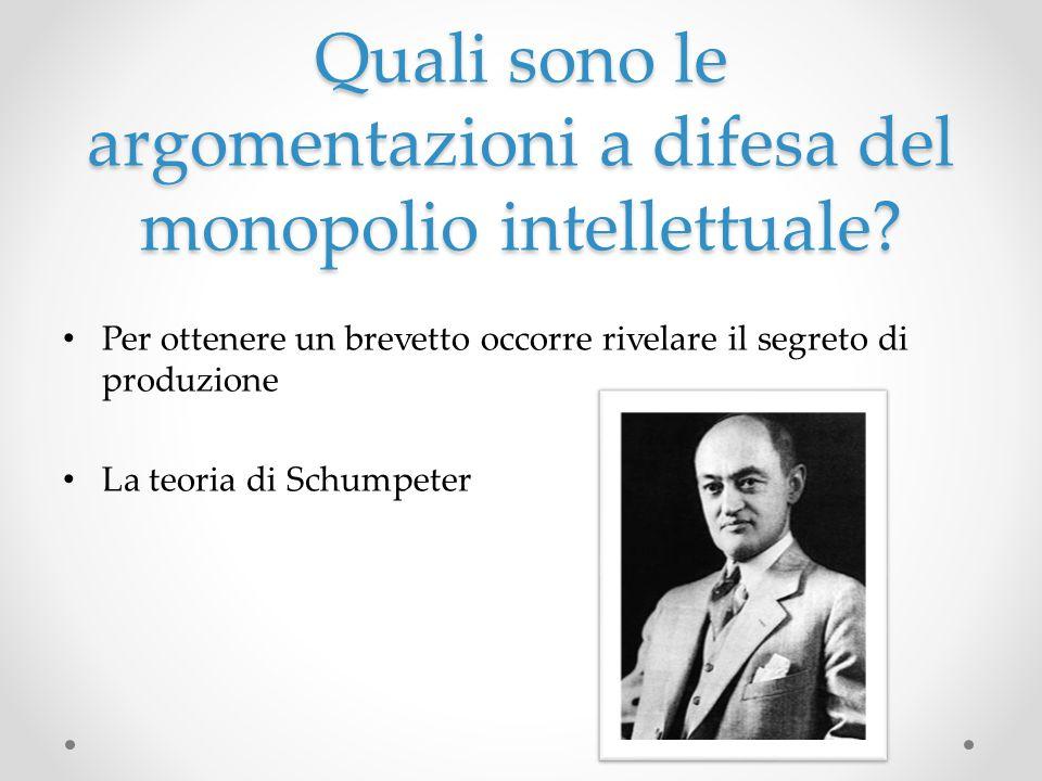 Quali sono le argomentazioni a difesa del monopolio intellettuale? Per ottenere un brevetto occorre rivelare il segreto di produzione La teoria di Sch