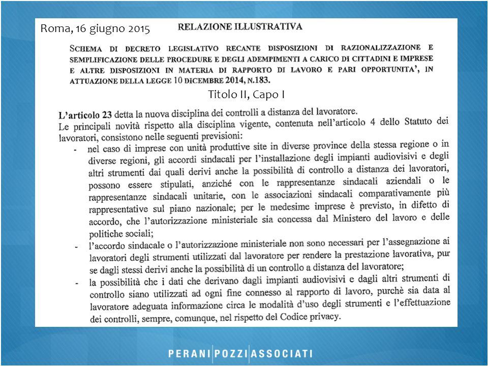 Roma, 16 giugno 2015 Titolo II, Capo I
