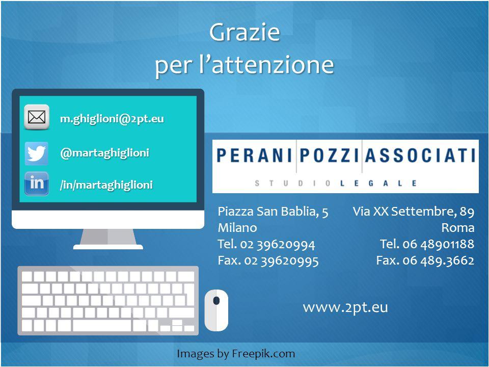 Grazie per l'attenzione m.ghiglioni@2pt.eu Piazza San Bablia, 5 Milano Tel.
