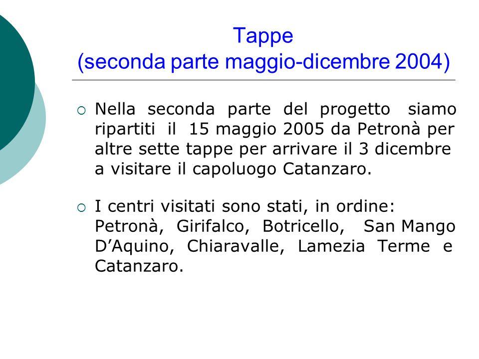 Tappe (seconda parte maggio-dicembre 2004)  Nella seconda parte del progetto siamo ripartiti il 15 maggio 2005 da Petronà per altre sette tappe per arrivare il 3 dicembre a visitare il capoluogo Catanzaro.